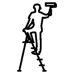 ローラーとはしご無料のアイコンを持つ男性の画家