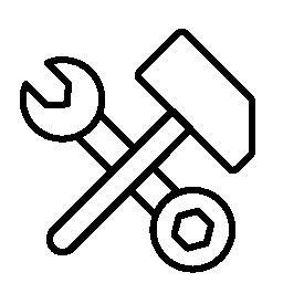ハンマー概要無料アイコンとレンチとボルトのツール