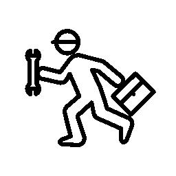レンチとキットの無料アイコンを持つ実行中の修理人