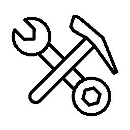 二重のレンチ ツールとハンマー概要無料アイコンの十字