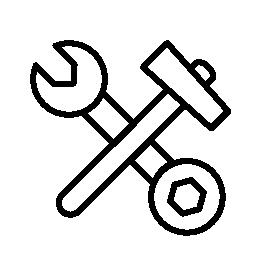 二重側でハンマーのレンチ クロス無料アイコン