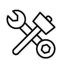 ハンマーとの二重側面レンチ クロス無料アイコン