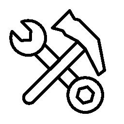 ハンマーとダブル両面レンチ ツール概要無料アイコン