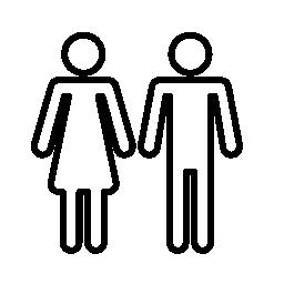 女性と男性形のシルエット輪郭無料アイコン