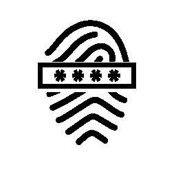 パスワード エントリ無料アイコンの付いた指紋します。
