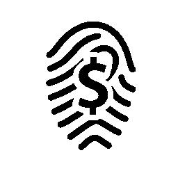 ドル記号の無料アイコンの付いた指紋します。