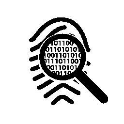 バイナリ コード無料のアイコンのような指紋のマークを表示します。