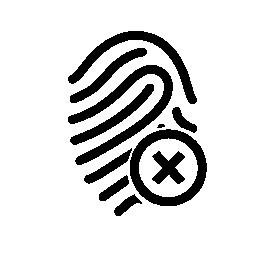 閉じるボタン無料アイコンの付いた指紋概要