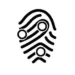 無料のアイコンを円形の図形のアウトラインを指紋します。