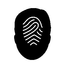 指紋の男性の頭部シルエット無料アイコン