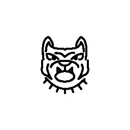 怒っているブルドッグの顔の輪郭の無料アイコン