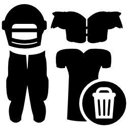 ランドリー バスケット記号の付いたラグビー服機器無料アイコン