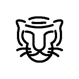 猫の顔の輪郭の無料アイコン