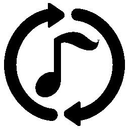 無料アイコンの周りのループ円形矢印と音楽注