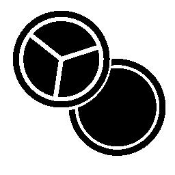 化粧目色合いと赤面の無料アイコンのカップルの円形の形状の設定します。