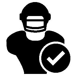 ラグビー選手クローズ アップ検証マーク無料アイコン