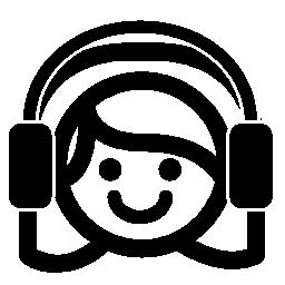 Auriculars 無料のアイコンとの音楽を聴いている女の子