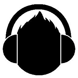 ヘッドフォンの無料アイコンを持つ男性の頭部