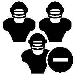 ラグビー選手のヘルメットとマイナス記号のアイコンを無料します。