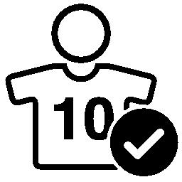 10 ジャージーとチェック マーク無料アイコン番号を持つフットボール選手