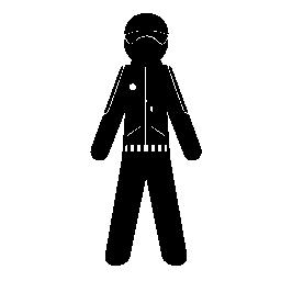 ヘルメットやジャケットの無料アイコンと男性の地位