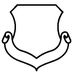 リボン無料アイコンの付いた白い盾形