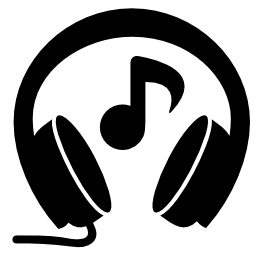 音楽とヘッドフォン無料のアイコンに注意してください。
