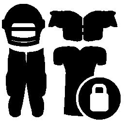 ラグビー服南京錠セキュリティ シンボル無料アイコンとプレイヤーの機器