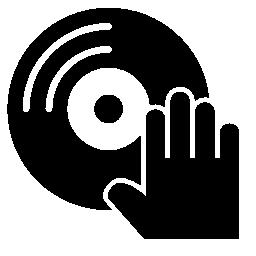 ディスクと dj の音楽的な手の無料アイコン