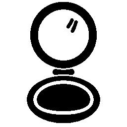赤面化粧円形開いたケース無料アイコン