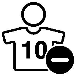 サッカー選手の背番号 10 マイナス記号とシンボルを無料のアイコン