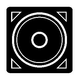 音楽ウーファー正方形のボックスの無料のアイコン