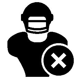 無料アイコンのシンボルのクロス削除とラグビー選手クローズ アップ