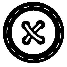 十字のステッチの無料アイコン付きのボタン