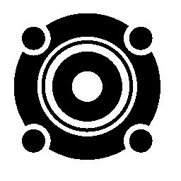 無料のアイコンを詳述白い円形のスピーカー