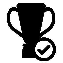 サッカーのチェック マーク アイコンは無料でトロフィーを獲得