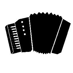 白い詳細無料アイコンとアコーディオンのシルエット