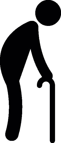 松葉杖の無料アイコンと歩いている老人