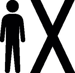X 記号無料アイコンの横に立っている人