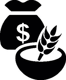 食糧穀物のボールと、お金袋の無料アイコン
