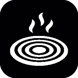 角丸の正方形の内部熱バーナー無料アイコン