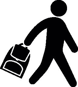 バッグ無料のアイコンを運ぶ少年