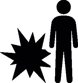 クリスマス花火爆発の無料アイコンの横に立っている人