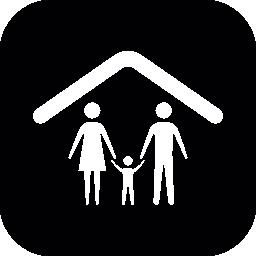 家族のグループ、丸みを帯びた正方形の内部の天井ラインの下で 3 つの無料のアイコン