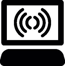 インターネット接続無料アイコンとラップトップ