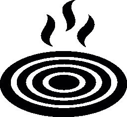熱無料アイコンとコンロ