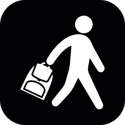角丸の正方形の彼のバッグを運ぶ学生無料アイコン