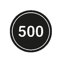 概要無料のアイコンが付いた黒い丸で 500