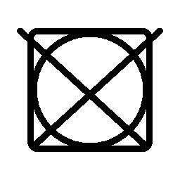 正方形の円の上の十字架の洗濯シンボル無料アイコン