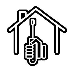 手と家の概要無料アイコンをスクリュー ドライバー